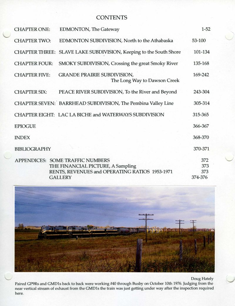 Northern Alberta Railway Contents