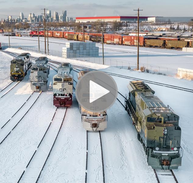 Video of unveiling Painted CP locomotives honour veterans