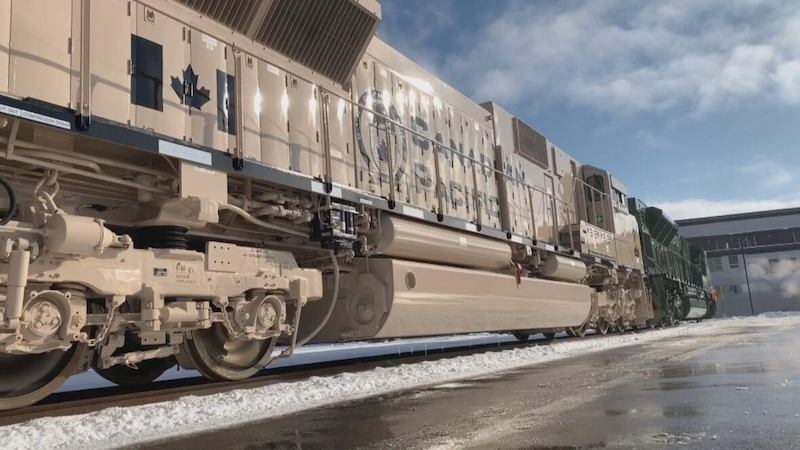 One of the five locomotives was painted to represent Afghanistan military operations. (Helen Pike/CBC)