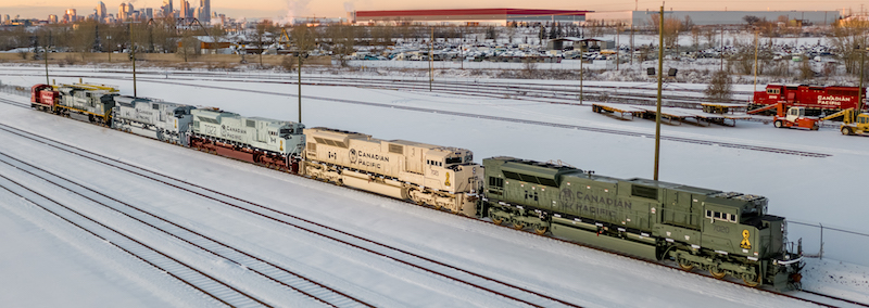 All locomotives in a line