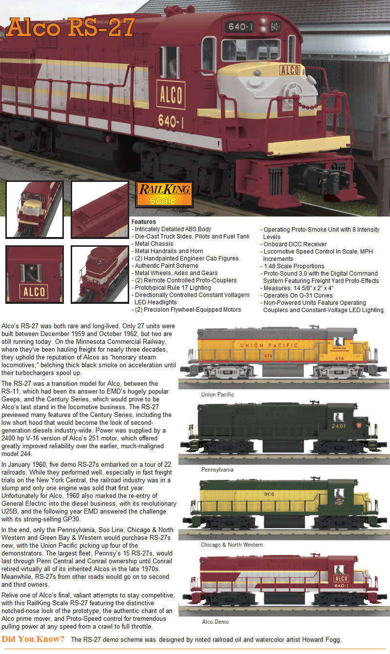 Toys & Hobbies Model Railroads & Trains Mth 30-20273-3 O Chicago North Western Rs-27 Non-powered Diesel Loco #902