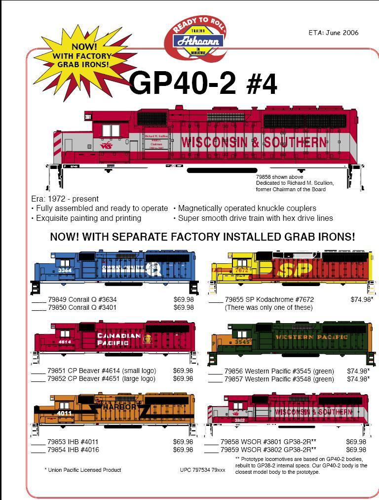 Athearn HO GP 38 40