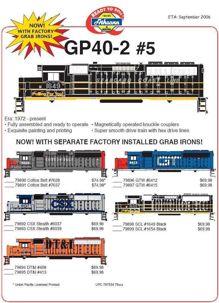 Athearn 140-799 GP40 2