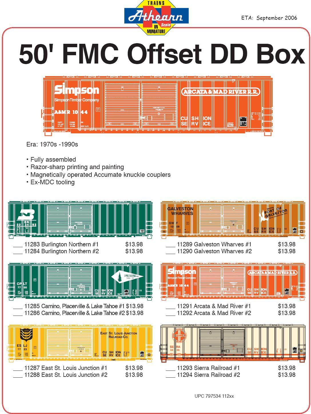 Athearn 50 FMC Offset DD Boxcar