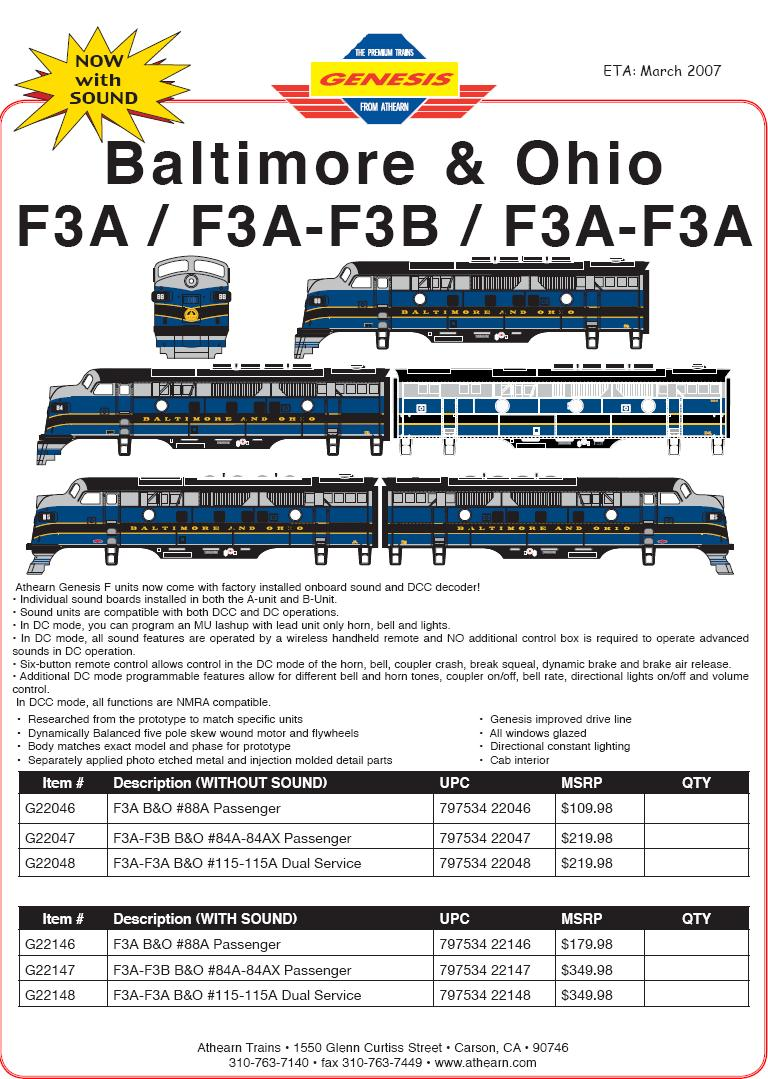 Athearn HO B&O F7A