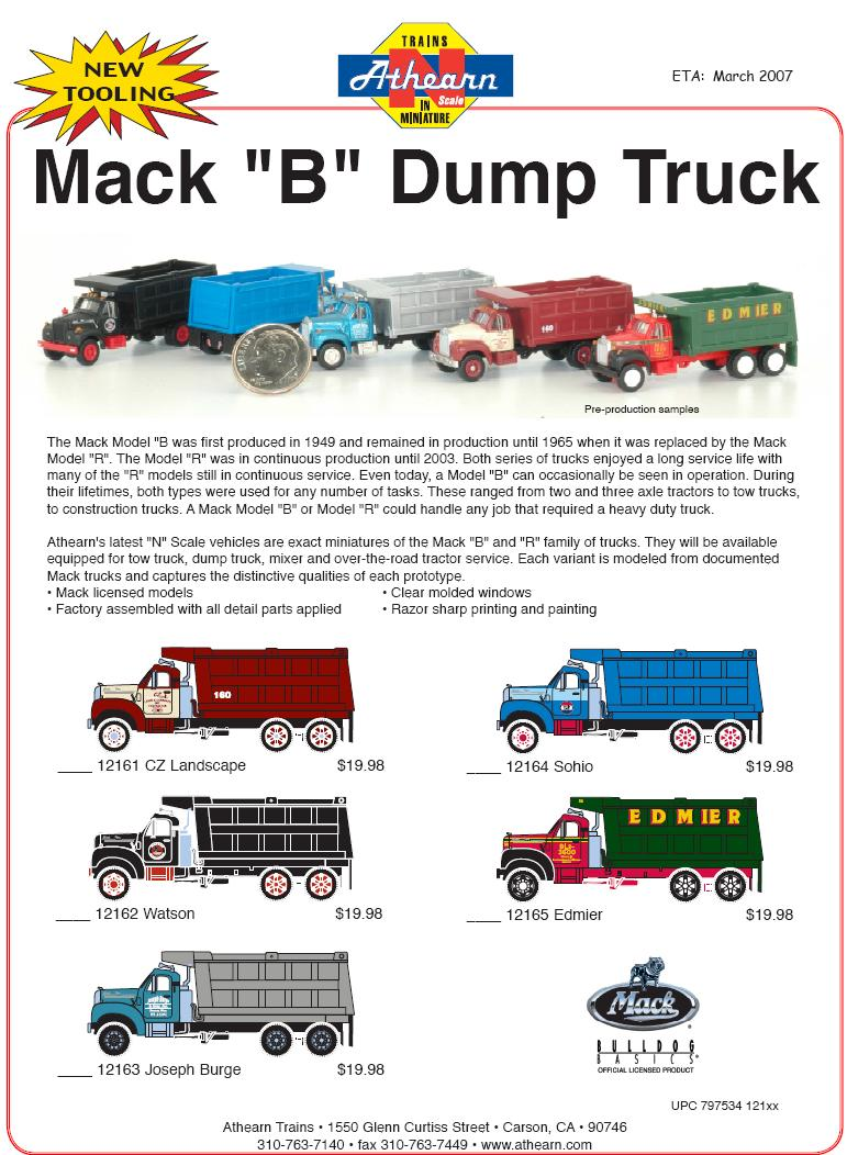 Athearn Mack B N Dump Truck