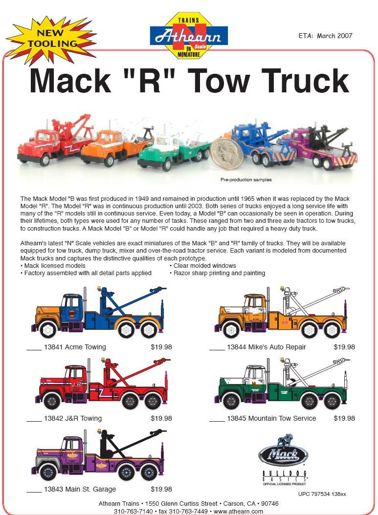 Athearn Mack R N Tow Trucks