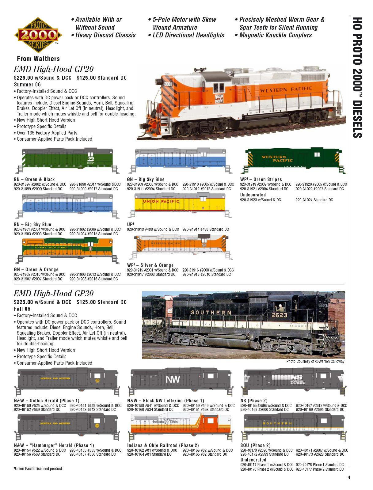 Walthers 2006 Cataloge Diesels page 1