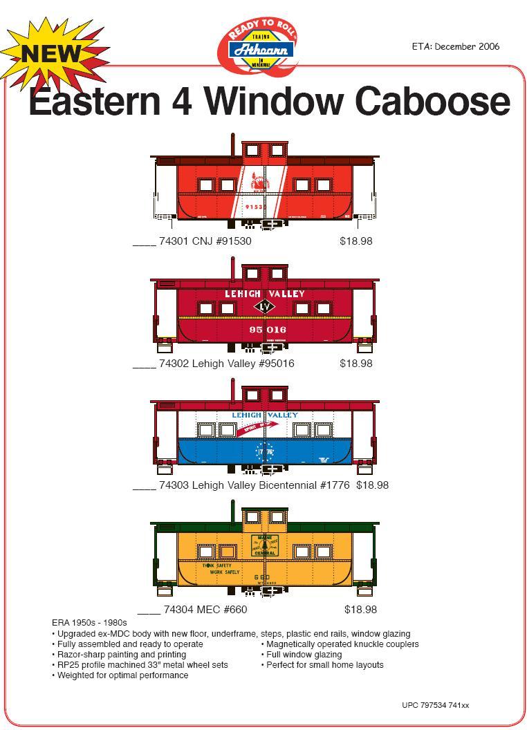 HO 4 w caboose 140-743 et seq