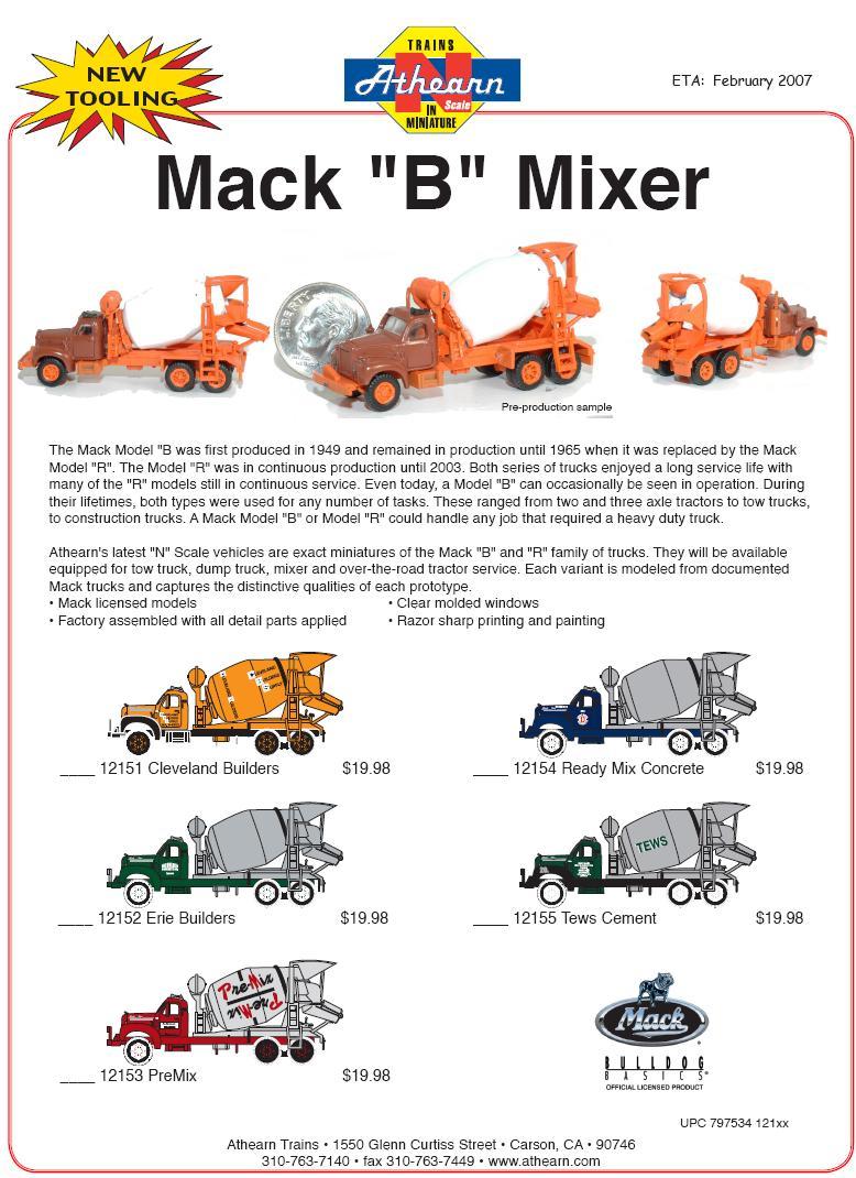 Athearn N Mack B Mixer