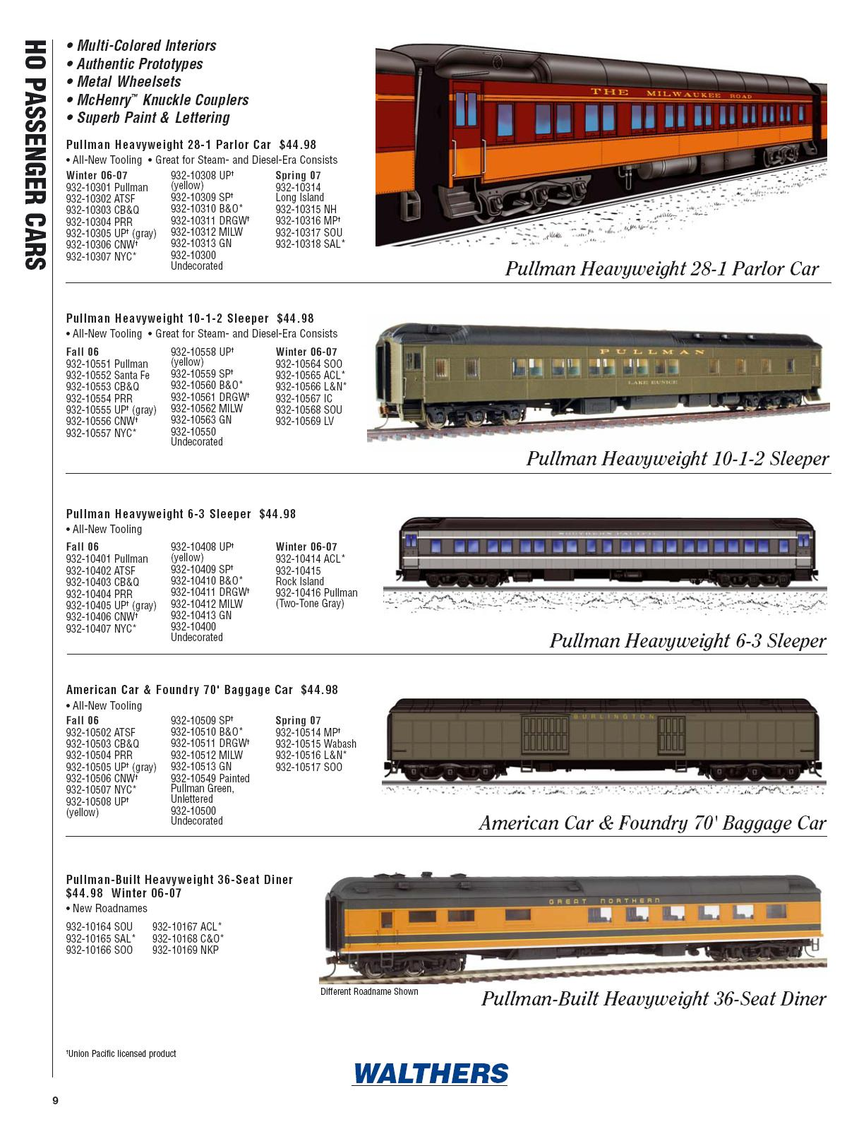Walthers 2006 Cataloge Passenger page 1